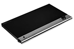 "29"" Portable Heated Black Glass Warming Shelf"